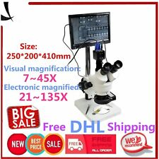 """7-45X Trinocular Stereo Zoom Microscope with Double Boom Stand + 8"""" LCD MonitoKE"""