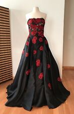 NWT Designer Strapless Black and Red Applique Ball Gown  *Size 10