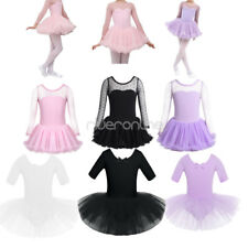 New Kids Girls Leotard Ballet Dance Dress Mesh Tutu Polka Dots Gymnastics Skirt