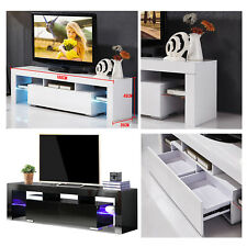 Black / White LED High Gloss TV Stand Universal Bench Unit Cabinet With Drawers