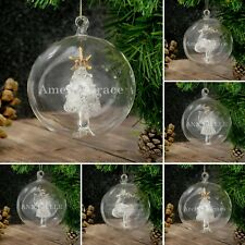 Personalised Christmas Tree Hanging Decorations Glass Baubles Reindeer Gifts
