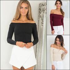 Ladies Women Sweater Long Sleeve Knit Off Shoulder Plain Pullover Blouse Tops