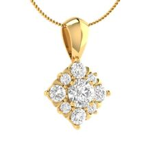 """0.60 Ct Round Cut D/VVS1 Solid Gold Drop Pendant 18"""" Necklace Beautiful Jewelry"""