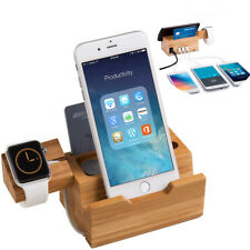 Ideal Bamboo US/ EU/ UK Triple USB Charger Dock Station Cradle For iWatch iPhone