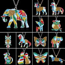 Cute Printing Animal Dog Elephant Pendant Necklace Christmas Womens Jewellery