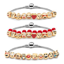 Emoji Charm Bracelet - 18K Yellow Gold Plated Double Sided Beads