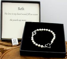 Freshwater Pearl Sterling Silver Heart Bracelet S/S Crystal Studded Clasp. Studs