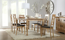 Kensington & Kendal Extending Oak Dining Table and 4 6 Chairs Set (Brown)