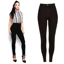 New Womens Skinny Fit Knee Ripped Black Low Rise Jeans Trousers Pants leggings