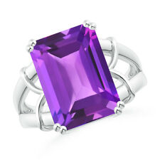 6.5 ctw Emerald Cut Amethyst Cocktail Ring 14K White Gold Size 3-13