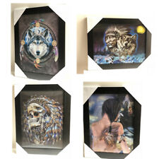 3D Framed Picture Indian Animal Girl Dog Wolf Skeleton Ready to Hang Wall