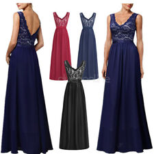 Women Sleeveless V-neck Dress Bridesmaid Evening Gown Party Coctail Maxi Dress