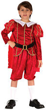 Medieval Boys Costume Red Tudor Prince History Fancy Dress Outfit New 4-6-8-10