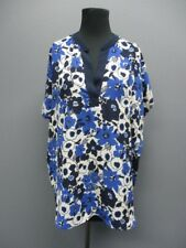 KAY CELINE Blue Short Dolman Sleeve V Neck Floral Blouse Sample NWT Sz S DD3806