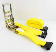 "Two 3"" x 27' Ratchet Straps with Flat Hook Ends Tiedown Cargo Flatbed"