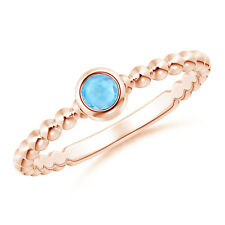 Swiss Blue Topaz Ring with Beaded Shank 14k Rose Gold/ Silver Size 3-13