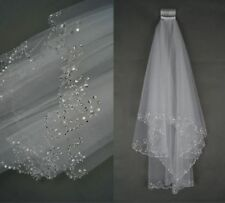 Ivory/White Bridal Veil Handmade Beaded Sequins Elbow Length 2T With Comb 0367