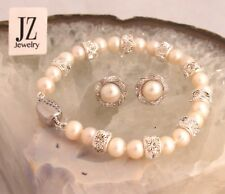 Freshwater Pearl Bracelet  Sterling Silver Rhinestone Beads and Crystal Clasp
