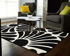 Breeze Damask Modern Fern Floor Area Rug Black White