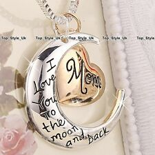 I love you to the moon and Back Rose Gold Silver Necklace Xmas Gifts for Her SU1
