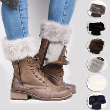 Women Lady Winter Leg Warmers Crochet Knit Fur Trim Leg Boot Socks Toppers Cuff