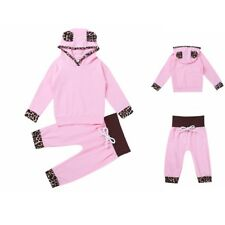 Infant Baby Girl Kids Outfit Leopard Print Hooded Tops Pants Outfits Clothes Set