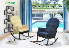 Outdoor Wicker Rocking Chair with Foot Rest, All Weather Porch Deck Chair