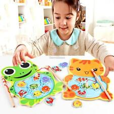 Baby Wooden Fishing Game Magnetic Puzzle Board Kids Jigsaw Puzzle SH