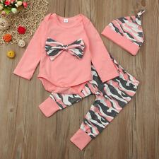 Newborn Toddler Baby Girls Boys Camouflage BowTops Pants Outfits Set Clothes New