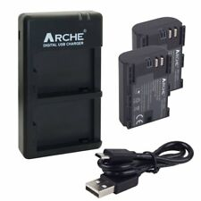 ARCHE Battery (2) and Dual USB charger for CANON LP-E6 LP-E6N and EOS 60D 7D 5DS