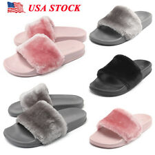 Womens Flats Fur Slip On Comfy Flip Flop Slider Slippers Ladies Rubber Sandals