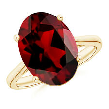 14K Yellow Gold 7.2 ct Classic Prong Set Solitaire Oval Garnet Cocktail Ring