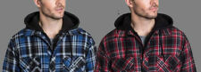 NEW MENS BC CLOTHING HOODED FLANNEL SHIRT JACKET! QUILTED LINING VARIETY