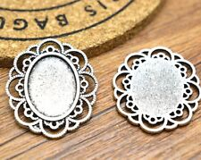 10pcs 13x18mm Antique Alloy Oval Cameo Cabochon Base Setting Charm Pendant