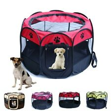 Pet Dog Cat Playpen Tent Portable Exercise Fence Kennel Cage Folding Crate