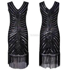 Women Vintage Style Sequin Fringed Evening Party Club Pencil Dress C5S