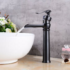 Vintage Single Lever Tap Solid Brass Bathroom Waterfall Faucet for Vessel Sink