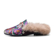 Womens Mules 3D Embroidery printing Mules Flat Warm Slippers Casual Shoes