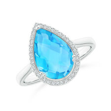 3.6 ctw Pear-Shape Natural Swiss Blue Topaz Diamond Cocktail Ring 14k White Gold
