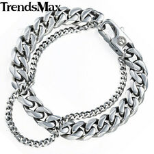 Mens Bracelet Chain Stainless Steel Silver Gold Black Curb Cuban Link 8-11inch
