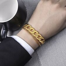 Mens Bracelet Chain Stainless Steel Silver Gold Wheat Curb Cuban Link Polished