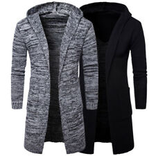 Mens Slim Fit Hooded knit Sweater Fashion Cardigan Long Trench Coat Jacket 2018