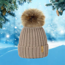 Winter Warm Hat Beanie Bobble Fashion Women Knitted Hot Ladies 1Pcs Faux Fur Cap