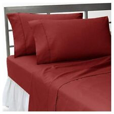 BURGUNDY SOLID ALL BEDDING COLLECTION 1000 TC 100%EGYPTIAN COTTON QUEEN SIZE