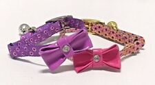 Cat kitten Collar Bling bow tie safety elastic Diamante bowtie polka dot spotty