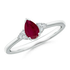 Pear Ruby Solitaire Ring With Trio Diamond Accents 14K White Gold Size 3-13