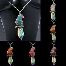 Women Full Crystal Parrot Pendant Neckace Silver Chain Party Charm Jewelry Hot