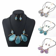 New Colorful Beads Stone Drop Dangle Hoop Earrings Necklace Jewelry Set Gift
