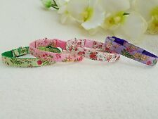 """Cutie Pie Flowered Dog/Puppy/Chihuahua Collar And Charm .Sizes 6-8"""" or 8-10"""""""