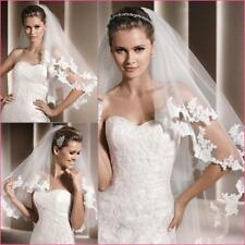 2T 80cm Elbow Wedding Veils Lace Edge Bridal Veil With Comb Accessories SJ193